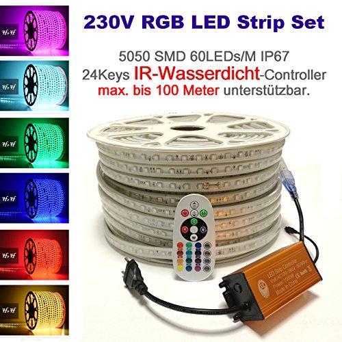 230V LED RGB Mehrfarbig Strip Streifen Lichtband Flex Band mit 5050 SMD 60LEDs pro Meter IP67 - Wasserfest mit IP65 Infrarot IR Controller  24 Keys Fernbedienung 15 Meter