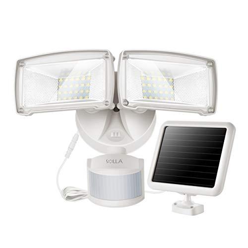 950LM Bewegung Sensor Solar Sicherheitslicht 5000K Tageslicht Doppelkopf Multi-Winkel justierbar kompaktes modisches Design für Garage Garten unzureichender Sonnenschein