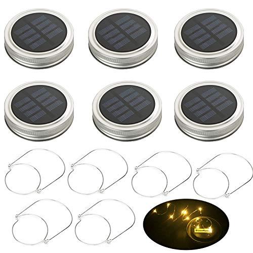 BizoeRade Solar Mason Jar Deckel Licht 6 Pack Gläser Led Licht für Dekoration Garten Haus Party Weihnachten Hochzeit Geburtstag Festival Nicht Enthalten Mason Jar