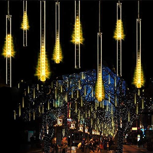 LEDs Meteorschauer Regen LichterSUAVER Wasserdichte Solar Licht Garten Lichterketten mit 30cm 10Tube 360LEDdekorative Lichter für Hochzeits WeihnachtsbaumWarm