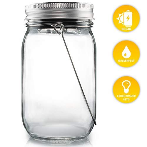 Lacari  Original Solarglas - Auch Als Gartenleuchte Hängeleuchte - Wasserdichte Solarlampe - Hochwertige Solarleuchte Im Einmachglas - Gemütliches Sonnenlicht - Mason Jar mit Langer Leuchtdauer