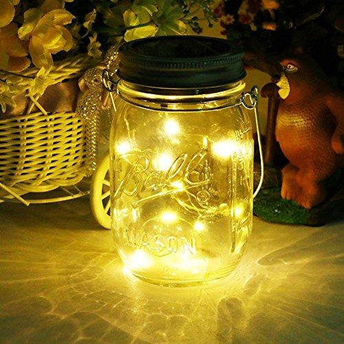 Mason Jar Licht Solar Laterne 20Leds Lichterkett Glas Hängeleuchte Outdoor Solarlampe Balkon Tischleuchte für AußenDekoration für Zuhause Party Garten HochzeitWarmweiß