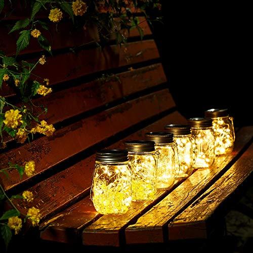 Solar Mason Jar Lichter Solarlicht Feen Lichter led Solarleuchten mit 10 LED für Gartendekoration Party Veranstaltungen Hochzeit Urlaub Warmes Gelb 4 Stück