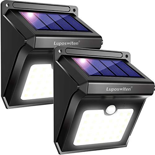 Luposwiten Solarleuchten für Aussen28 LED Solarlampen mit Bewegungsmelder Solarlicht Lichter für Außen Garten Wand Hof Treppen Einfahrt GehwegenSolarlampen Aussenbeleuchtung-2 Stück