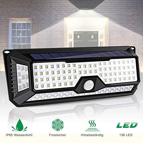 136 LED Solarlampe für Außen ALIENGT Solarleuchte Wandleuchte mit Bewegungsmelder IP65 Wasserdicht 3 Modi für Garten Auffahrt Hof Balkon und Garage
