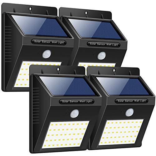 Trswyop Solarleuchte Außen  4 Stück 40 LED Solarlampen mit Bewegungsmelder Wasserdicht Solarlicht Superhelles Sicherheitswandleuchte Hitzebeständig Solarbetriebene Beleuchtung für Garten Balkon