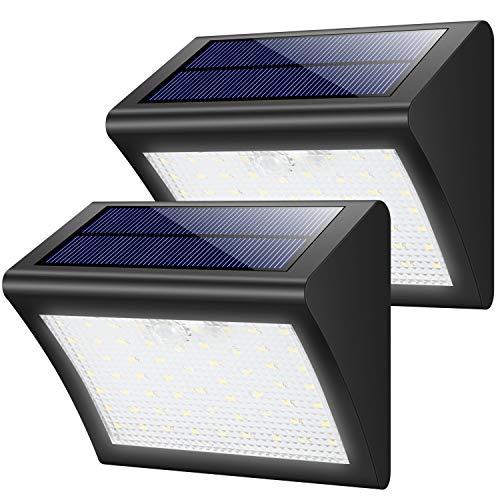 Yacikos Solarleuchten Außen 60 LED Solarlampe mit Bewegungsmelder Solar Wandleuchte Solarlicht Wasserdichte Solar Beleuchtung 3 Modi Solarbetriebene Kabelloses Sicherheitslicht für Gärten2 Stück