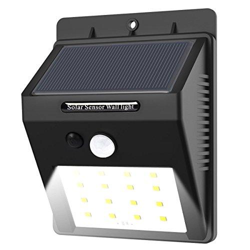 16 LED Solarleuchten mit Bewegungsmelder E-Tro Wasserdicht Solar Licht Solar Wandleuchte Super Hell Solar Außenleuchte Bewegungssensor Solarlampe Auto OnDimOff für Außenbeleuchtung