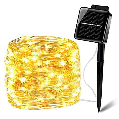 Solar Lichterkette 200er LEDSolar String Lichter 20M Solar Lichterketten Kupferdraht 8 Modi Beleuchtung Wasserdicht IP65 für Garten Terrase Balkon - Warmweiß