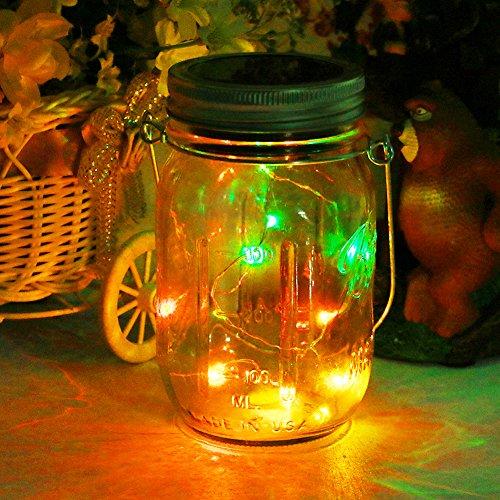 Solar Mason Jar Licht20Leds Lichterkette im Einmachglas Glas Windlicht Laterne Hängeleuchte Outdoor Solarlampe Balkon Tischleuchte für AußenDekoration für Zuhause Party Garten Hochzeit