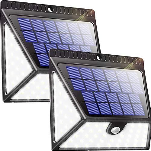 Luposwiten 82 LED Solarlampen für Außen mit Bewegungsmelder1640 LM Weitwinkel Solarbewegungsmelder Aussen für Garten PatioTerrassenWand Flur Zaun Einfahrt Gehwegen 2 Stück IP65 Wasserdicht