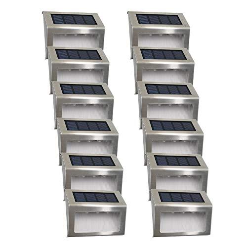 Solarleuchte Garten Solarlampen 3Led Easternstar solar Wandleuchte Aussenleuchten Wegeleuchte wasserdicht für außen Terrasse Zaun Balkon Treppe Dachrinne mit Lichtsensor12 Stück