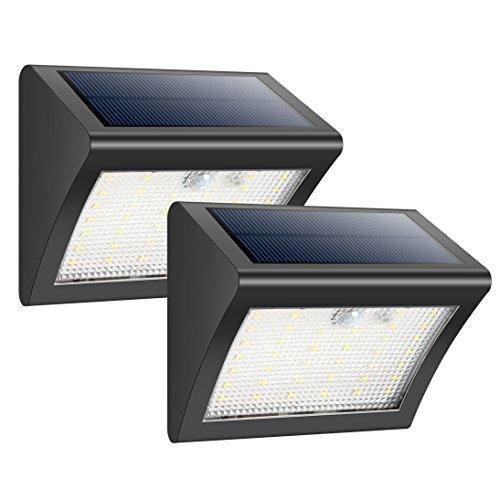 Solarleuchten für Aussen HETP 2 Pack 38 LED Solarlampe Superhelle Solarleuchte Garten mit Bewegungsmelder Sicherheitswandleuchte Wandleuchte 3 Modi Wasserdichte Solarleuchten Garten