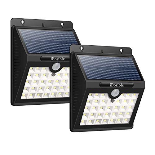 iposible Solarleuchten für Außen 2 Stück 33 LED Solarleuchte Gartenbeleuchtung Solarlampe mit bewegungsmelder 3 Modi Solar Betriebene Außenleuchte Wasserdichte Wandleuchte Licht für Garten
