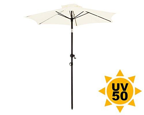 Ondis24 Strandschirm 18 Meter Sonnenschutz Sonnenschirm 180 cm rund mit Kurbel Knick-Gelenk UV 50 Beige
