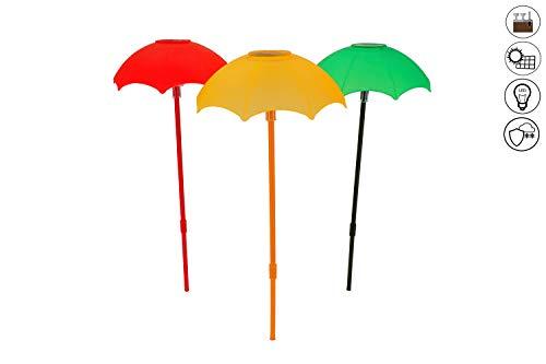 ABC Home Garden Schirme ♦ Solarleuchte ♦ Solarstecker ♦ LED ♦ Solarbetrieben ♦ EIN-& Ausschalter ♦ 3er Set ♦ Kunststoff rot gelb grün