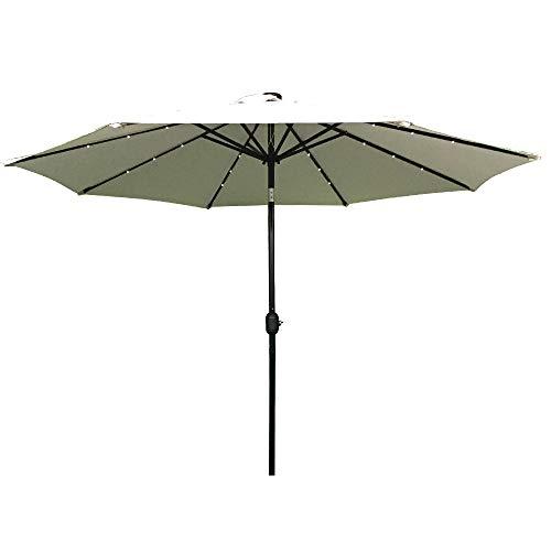 HENGMEI 300cm ALU Sonnenschirm Gartenschirm Terrassenschirm Marktschirm Ampelschirm Strandschirm Kurbelschirm mit UV Schutz 40 mit Solar LED Warmweiß für Balkon Garten Terrasse 300cm Beige
