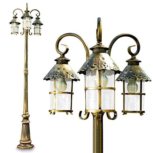 Kandelaber Tolep mit 3 Köpfen in Braun und Gold – Sockelleuchte Garten im Vintage Stil – 3x E27-Fassung – LED-geeignet – Gartenlampe außen aus Metall mit Glas-Schirm – Sockelleuchte Garten