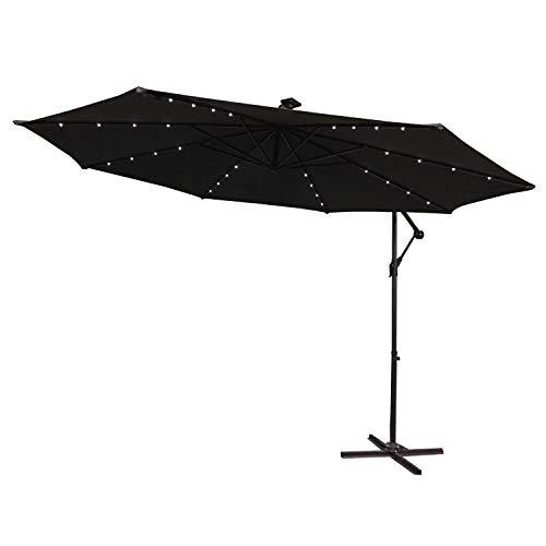 LARS360 Ø300cm Aluminium Sonnenschirm Mit LED Marktschirm Balkonschirm Gartenschirm Ampelschirm Kurbelschirm Gartenschirm UV40 Schutz Dunkelgrau mit Solar LED