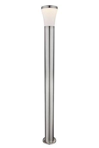 LED Außenlampe aus Edelstahl Lampen Schirm Höhe 110 cm Standleuchte Wegeleuchte Weg Beleuchtung Außen Leuchte Garten Lampe Pfostenleuchte Sockel Leuchte Standlampe 105 Watt warmweiß IP44