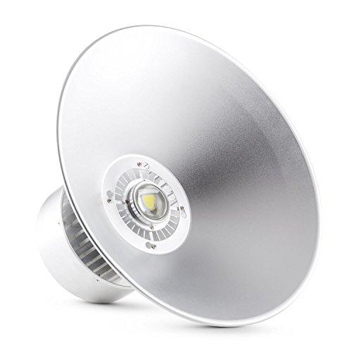 Lightcraft High Bright Industrielampe Deckenlampe LED-Industriestrahler für Hallen- und Industriebeleuchtung 50 Watt 50cm Schirm für Decke Aluminium neutralweiß