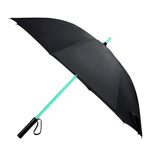 Vicloon Lightsaber LED Regenschirm mit Fackel Leuchten Golfschirme mit 7 FarbwechselSchwarz