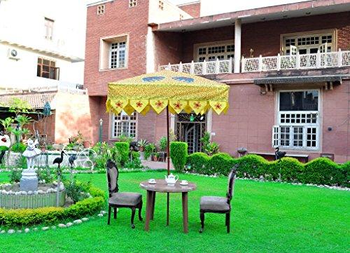 Lalhaveli Indischer Elefant-Design-Gelber Quadratischer Patio-Sonnenschutz im Freien Garten-Sonnenschirm-Regenschirm