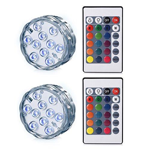 LEDGLE Unterwasser Licht mit Fernbedienung 10 LEDs batteriebetrieben IP68 Wasserdicht Kabelloses Design 2Pcs