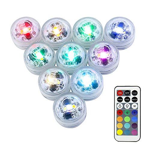 LUXJET 10er Pack mini RGB TeichbeleuchtungLED Unterwasser Lichter mit Fernbedienung Batteriebetrieben IP68 Wasserdichte für Garten Aquarium Vase Badewanne Pool oder Spa