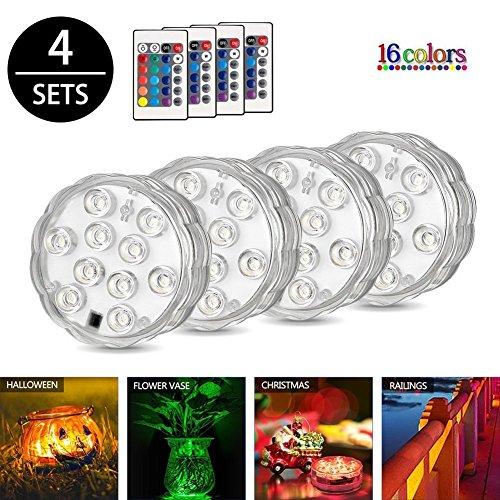 Unterwasser LED Licht Queta 4 Wasserdichte Licht mit FernbedienungFerngesteuert Batteriebetrieben Wireless Multicolor Tauch LED Leuchten für Holloween Teich Party Hochzeit Vase