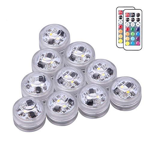 kleine Unterwasser Licht,10 LED tauchende licht Wasserfeste LED Wasserdicht LED Mini Licht LED Akku-Licht Motor führte die Licht Partei mit der Fernbedienung für die Dekoration 10pack