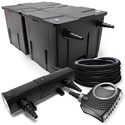Teichfilter Set aus 60000l Filter UVC Teichklärer mit 24W 80W Pumpe 25m Schlauch
