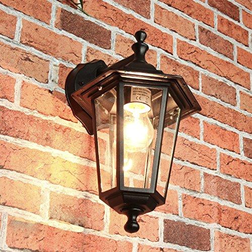 Außenwandleuchte Außenwandlampe Schwarz Aluminium E27 T22cm Glas Beleuchtung Garten Hof Tür Balkon