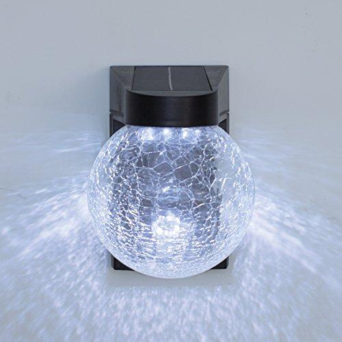 Benross Sensor Crackle Glas Fernbedienung Solar Wandleuchte schwarz