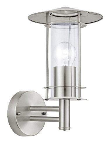 EGLO Aussenwandleuchte Lisio E27 Edelstahl Glas Laternenleuchten für den Außenbereich IP44 Stahl