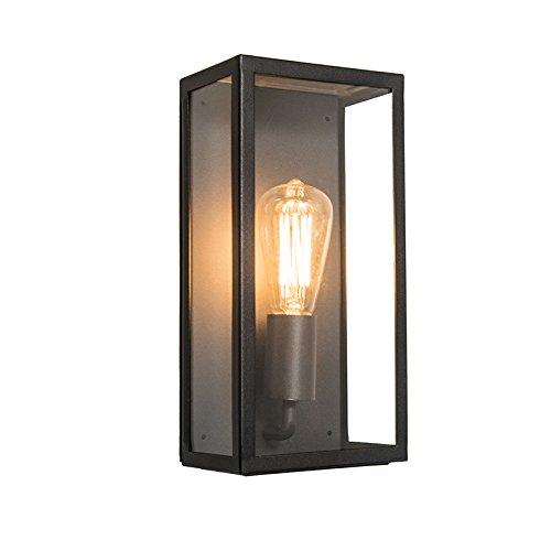 QAZQA Modern Moderne rechteckige Außen Wandleuchte schwarz mit Glas - Rotterdam 1  AußenbeleuchtungEdelstahl Rechteckig LED geeignet E27 Max 1 x 60 Watt