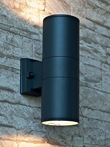 Wandleuchte XL aussen in anthrazit  1x E27 bis 60W 230V  moderne Lampe aus Aluminium GlasWandleuchte Up DownTerrasse HauswandleuchteBeleuchtung Carport