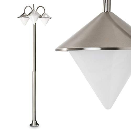 Kandelaber Kasan 3-flammig aus Edelstahl – klassische Wegeleuchte sehr auffällige Form mit pyramidenähnlichen Lampenschirmen – Höhe 198cm – ideal als Gartenleuchte – Wegelicht - Beetbeleuchtung