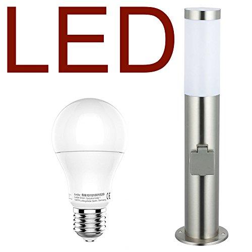 LED Stand-Außenleuchte mit 2 Steckdosen LED Leuchtmittel - Wegeleuchte Edelstahl Außenlampe Hoflampe Gartenlampe Gartenleuchte Balkon Rasen Energieklasse A