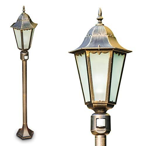 Außenstehleuchte Hongkong Frost – Stehlampe mit Bewegungsmelder in antikem Look – Aluminium Sockelleuchte in Schwarz-Gold mit Milchglas-Scheiben – Wegeleuchte – Retro Gartenlampe – E27-Fassung – 100W