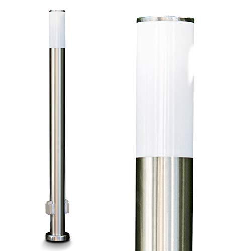 Außenstehleuchte Caserta mit 2 Steckdosen – Pollerleuchte mit E27-Fassung für max 15 Watt – Wegeleuchte aus Edelstahl im modernen Design