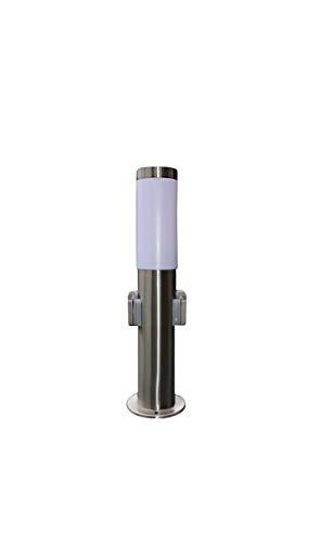Edelstahl Außenleuchte  Außenlampe  Standleuchte  Standlampe  Wegelampe  Wegeleuchte  Gartenlampe  Gartenleuchte  Parklampe  Parkleuchte  Rasenlampe  Rasenleuchte mit zwei eingebauten Steckdosen und inkl LED Energiesparlampe 7 Watt