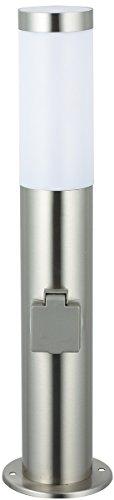 Jardinion Wegeleuchte Edelstahl Höhe 45 cm mit 2 Steckdosen Rostfrei Sicherheit Lampe Licht Beleuchtung