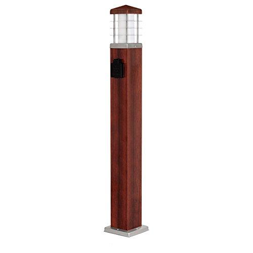 MD-DEAL 1er Set Stehleuchte Holzoptik Außenlampe Wegeleuchte Gartenlampe Lampe eckig 800mm mit Steckdose