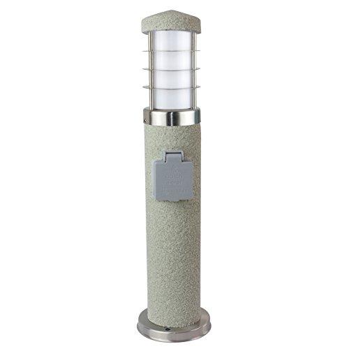 MD-DEAL 1er Set Stehleuchte Steinoptik rund Außenlampe Wegeleuchte Gartenlampe Lampe 450mm mit Steckdose