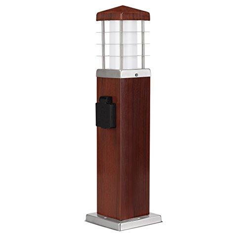 MD-DEAL 2er Set Stehleuchte Holzoptik Außenlampe Wegeleuchte Gartenlampe Lampe eckig 450mm mit Steckdose