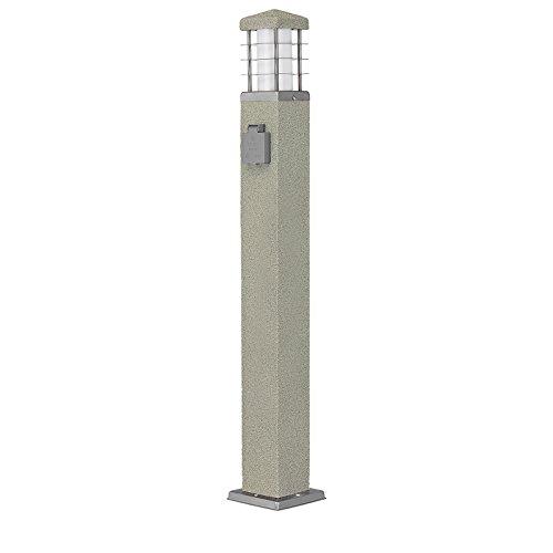 MD-DEAL 3er Set Stehleuchte Steinoptik Außenlampe Wegeleuchte Gartenlampe Lampe eckig 800mm mit Steckdose 800mm