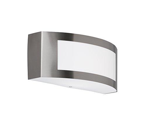 WOFI Außenwandleuchte Stahl E27 14 W Edelstahl Gebürstet Roh 9 x 25 x 10 cm