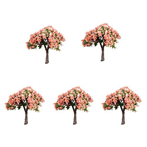 MagiDeal 5 Stück Blumentopf Pflanzentopf Mini Baum Dekofigur Miniatur Figuren Mini Landschaft Fee Garten Dekoration Weihnachten Muster Set - Hibiskus 58x58mm