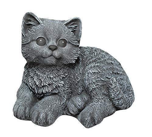 Steinfigur Katze sitzend - Schiefergrau Garten Deko Stein Figur Frostsicher